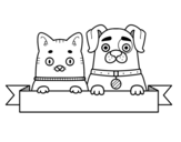 Puppy and kitten coloring page