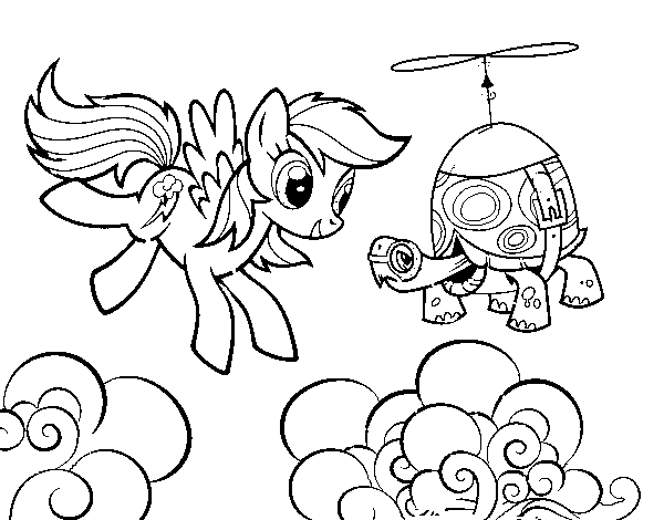 Rainbow Dash and Tank Turtle coloring page