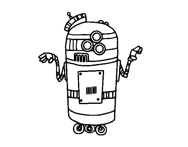 Robot in service coloring page