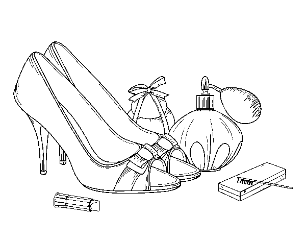 Shoes and makeup coloring page