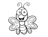 Smiling butterfly coloring page