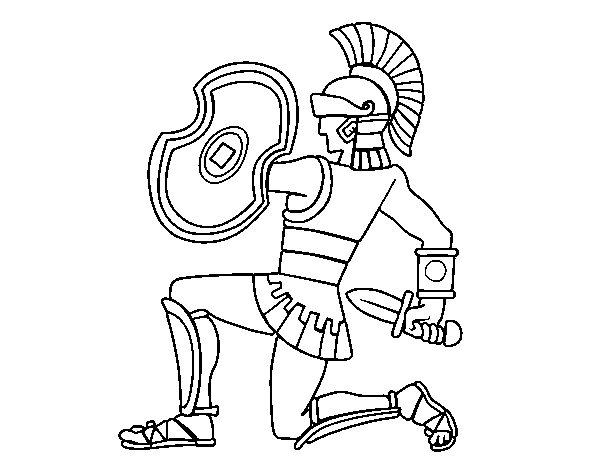 Soldier crouching coloring page