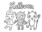 Some monsters for Halloween coloring page