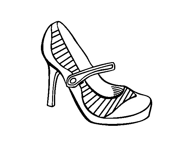 Sport heel shoes coloring page