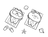 Teddy bears sunbathing coloring page
