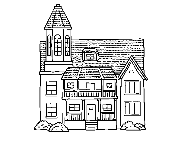 Two-story house with tower coloring page