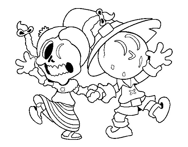 Wednesday and Jack-o-lantern coloring page - Coloringcrew.com