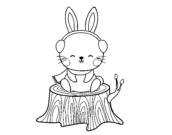Wild rabbit sheltered coloring page