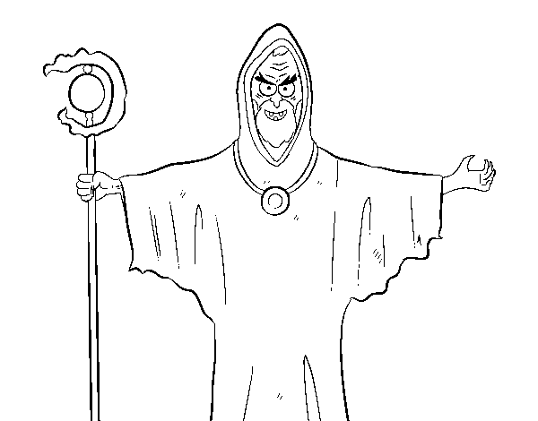 Wizard with a walking sticf coloring page