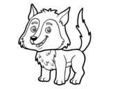Young wolf coloring page