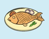 Coloring page Fish plate painted byJijicream