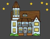 Coloring page Two-story house with tower painted byLornaAnia
