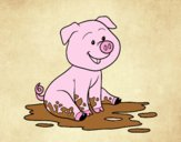 Coloring page Pig in mud painted byLornaAnia