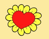 Coloring page Flower heart painted byAnitaR