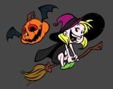 Halloween witch and pumpkin
